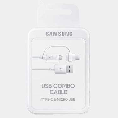 Beyaz Samsung Type-C + MicroUSB Kombo Kablo